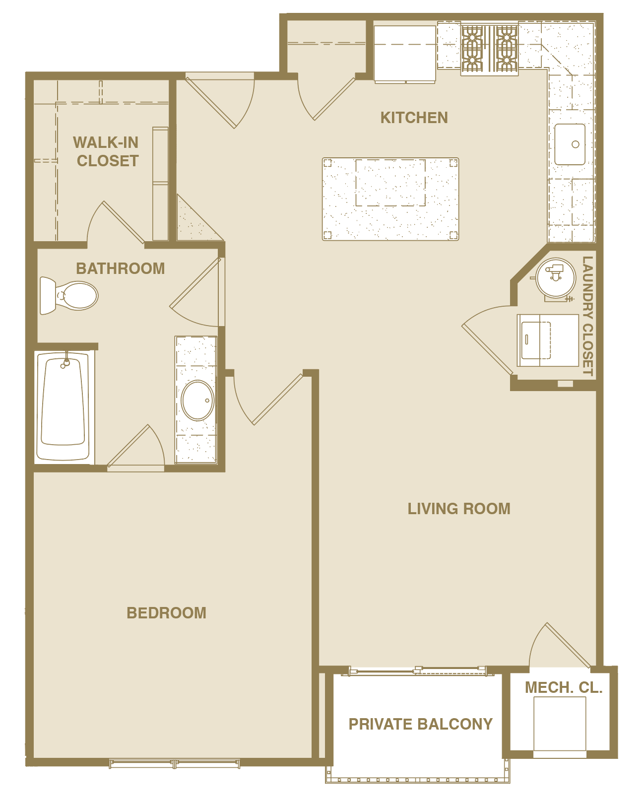 Arcadian Floorplan 1 Bedroom 1 Bath