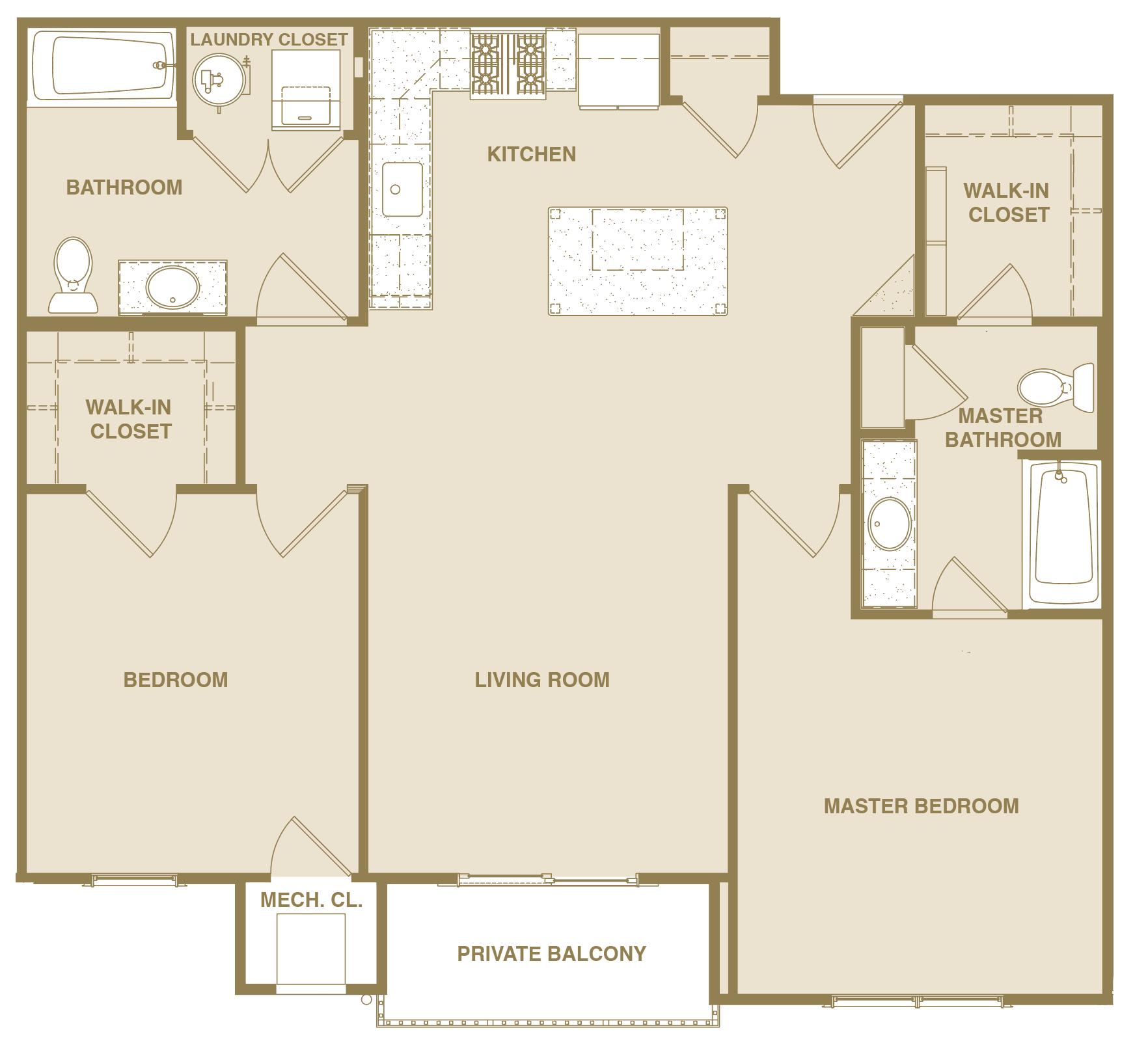 Arcadian Floorplan 2 Bedroom 2 Bath